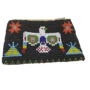 Native American Multi Color Seed Bead Coin Purse